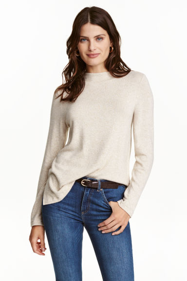 Fine-knit jumper - Light beige marl - Ladies | H&M CN 1