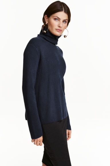 Pullover a coste a collo alto - Blu scuro - DONNA | H&M IT 1
