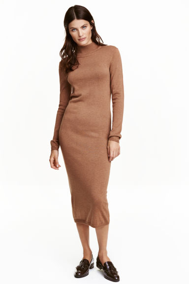 Fine-knit turtleneck dress - Dark beige marl - Ladies | H&M GB 1