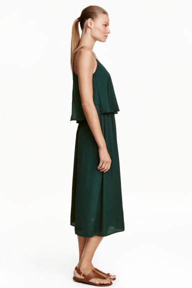 Satin dress - Dark green - Ladies | H&M CN 1