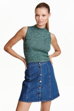 Sleeveless polo-neck jumper - Dark green marl - Ladies | H&M CN 1