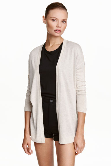 Fine-knit cardigan - Light beige marl - Ladies | H&M CN 1