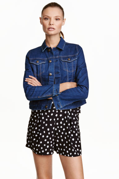 Denim jacket - Dark denim blue - Ladies | H&M GB 1