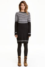 Knitted dress - Dark grey/Patterned - Ladies | H&M GB 1