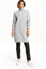 Long polo-neck jumper - Light grey marl - Ladies | H&M CN 1