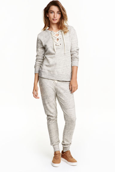 Joggers with lacing - Light grey marl - Ladies | H&M CN 1