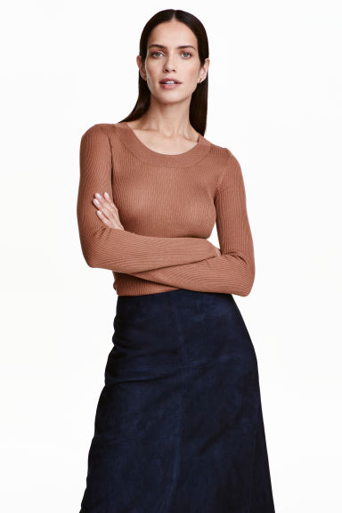 Ribbed jumper - Brown -  | H&M CA 1