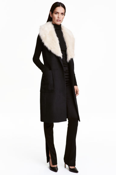 Long wool-blend coat - Black - Ladies | H&M CN 1
