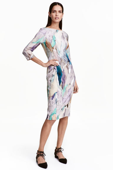 Patterned dress - Natural white - Ladies | H&M CN 1