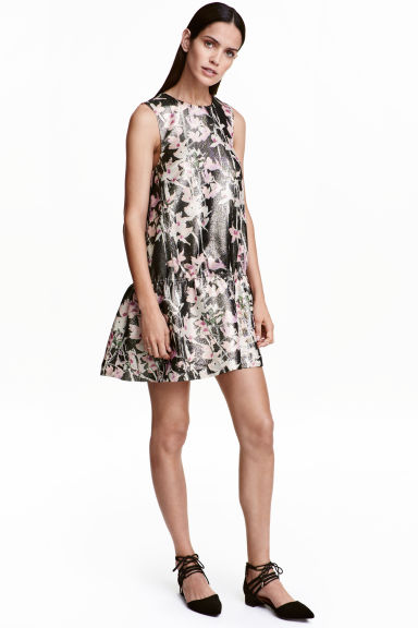 Glittery silk-blend dress - Black/Floral - Ladies | H&M GB