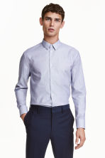 Shirt in premium cotton - Blue/White/Checked - Men | H&M CN 1