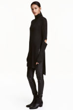Rib-knit polo-neck jumper - Black - Ladies | H&M CN 1