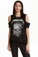 Printed cold shoulder top - Black/Metallica - Ladies | H&M CN 1