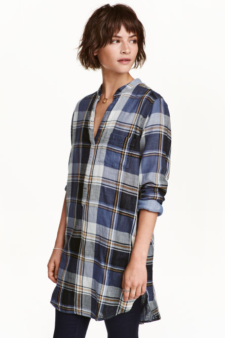 V-neck cotton tunic