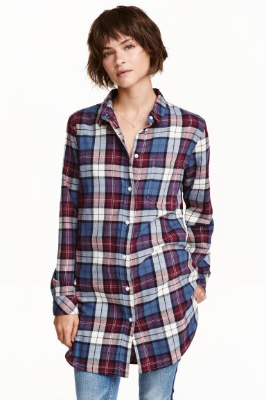Long flannel shirt - Burgundy/Checked - Ladies | H&M CN 1