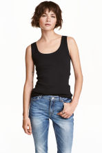 Cotton vest top - Black - Ladies | H&M IE 2