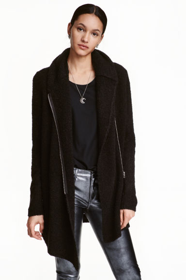 Bouclé cardigan - Black - Ladies | H&M CN 1