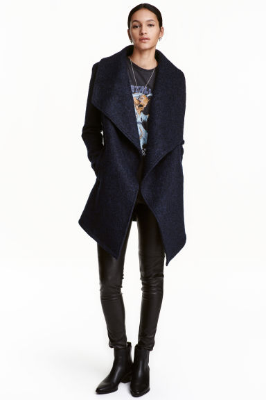 Wool-blend bouclé coat - Dark blue - Ladies | H&M