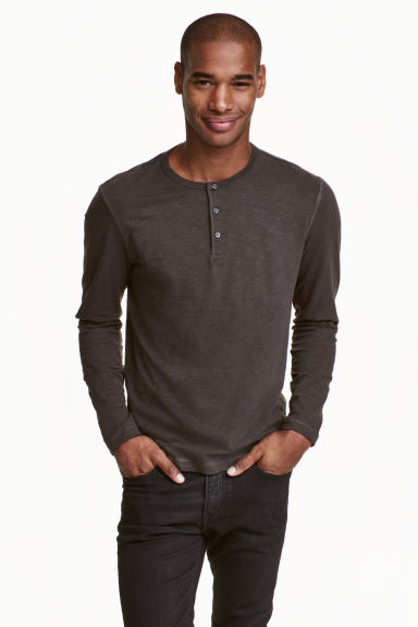 Henley shirt - Dark grey - Men | H&M CN