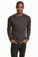 Henley shirt - Dark grey - Men | H&M CN 1