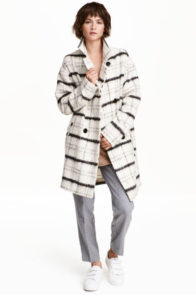 Wool-blend coat - Natural white/Checked - Ladies | H&M CN 1