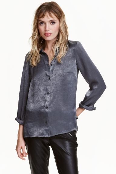 Long-sleeved blouse - Dark grey - Ladies | H&M CN 1