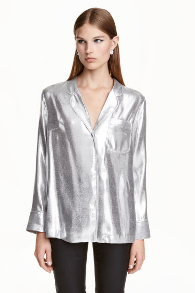 Silk-blend blouse - Silver - Ladies | H&M GB
