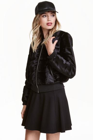 Faux fur bomber jacket - Black - | H&M GB