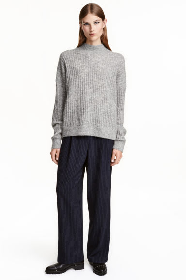 Wide suit trousers - Dark blue/Striped - Ladies | H&M CA 1