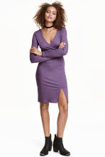 Ribbed dress - Dark purple - Ladies | H&M CN 1