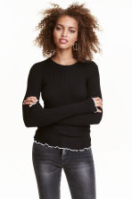Ribbed top - Black - Ladies | H&M GB 1