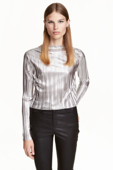 Pleated top - Silver - Ladies | H&M CN