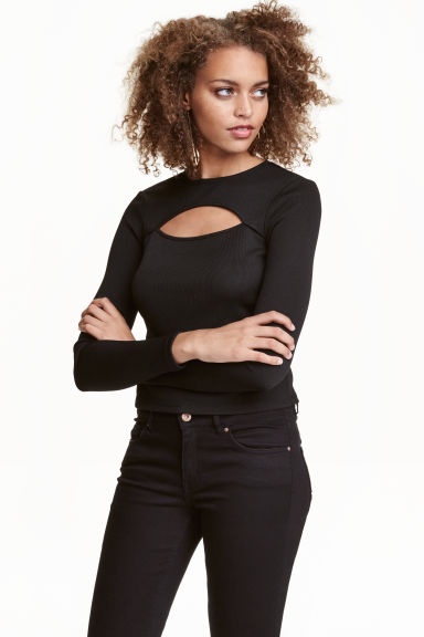 Fitted top - Black - Ladies | H&M CN 1