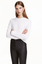 Long-sleeved jersey top - White - Ladies | H&M CN 1