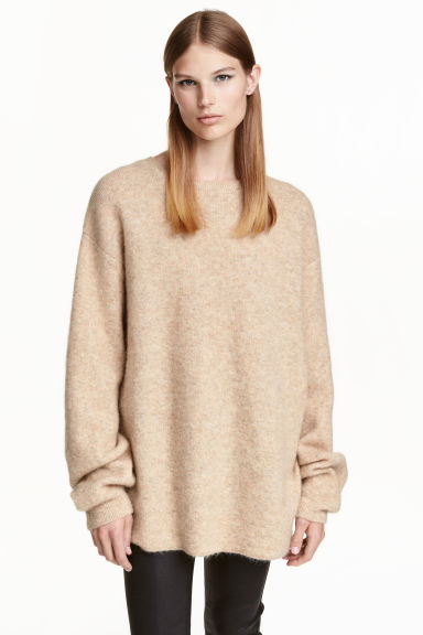 Oversized mohair-blend jumper - Light beige marl -  | H&M CN 1