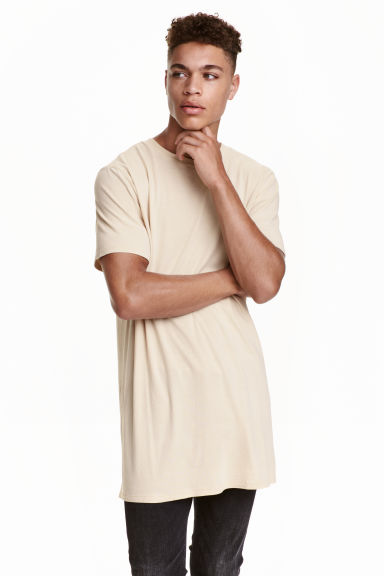 Long T-shirt - Beige - Men | H&M CN 1