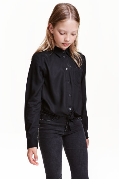 Tie-front blouse - Black - Kids | H&M CN 1