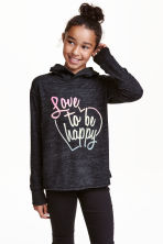 Knitted hooded top  - Black marl - Kids | H&M CN 1