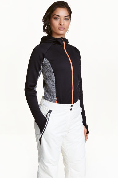 Fleece jacket with a hood - Black/White marl - Ladies | H&M GB