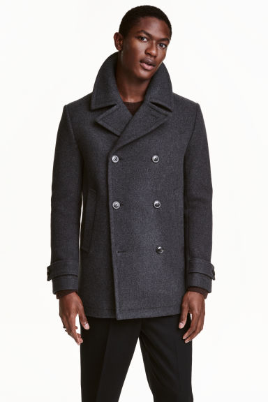 Wool-blend pea coat - Dark grey - Men | H&M CN