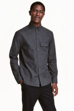 Cotton flannel shirt - Dark grey marl - Men | H&M CN 1