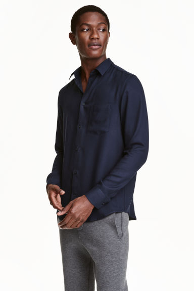 Viscose shirt - Dark blue - Men | H&M CN 1
