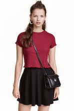 Ribbed top - Dark red - Ladies | H&M CN 1