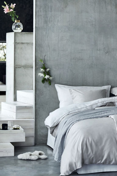 Washed linen bedspread - Light grey - Home All | H&M CN 1
