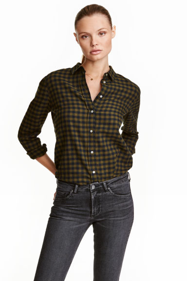 Flannel shirt - Khaki green/Checked - Ladies | H&M CN 1