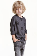 Long-sleeved T-shirt - Dark Grey/Wolf - Kids | H&M CN 1