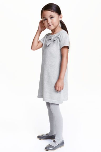 Fine-knit dress - Light grey/Glittery - Kids | H&M CN