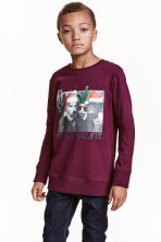 Printed sweatshirt - Burgundy - Kids | H&M CN 1