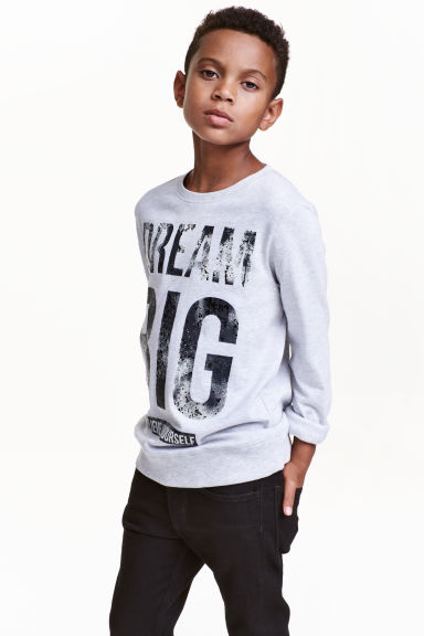 Printed sweatshirt - Light grey - Kids | H&M CN 1