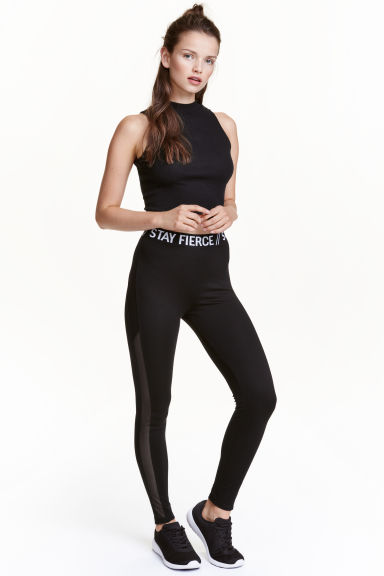 Leggings con bande in mesh - Nero - DONNA | H&M IT 1